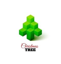 Isometric christmas tree logo vector image