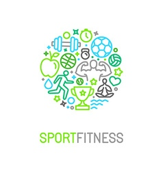 linear sport and fitness logo design template vector image vector image