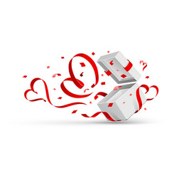 Open gift with hearts vector image