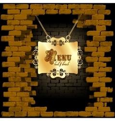 restaurant menu in an old brick wall vector image vector image