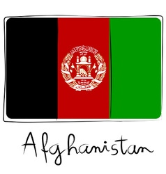 Afganistan flag doodle vector image vector image