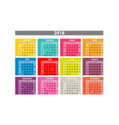 desk calendar 2018 simple colorful gradient vector image