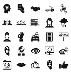 Earphones icons set simple style vector
