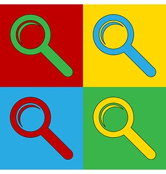 Pop art search icons vector image vector image