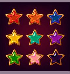 cartoon colorful star gemstones vector image