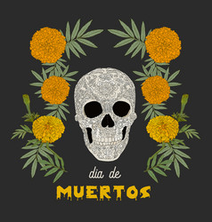 dia de los muertos day of the dead card vector image
