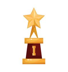 golden star award trophy statuette cartoon vector image