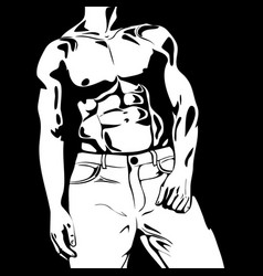 graphic beautiful strong guy concept vector image
