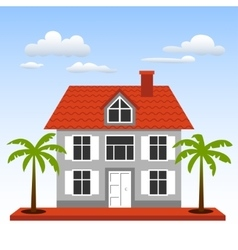 House palms and clouds on a blue sky background vector image vector image