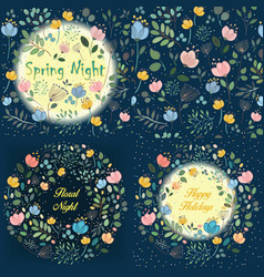 night floral rings and seamless pattern vector image vector image
