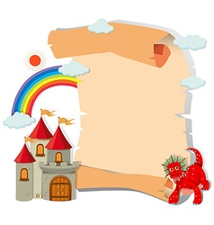 Paper design with dragon and castle vector image vector image