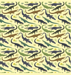 seamless pattern with crocodile vector image