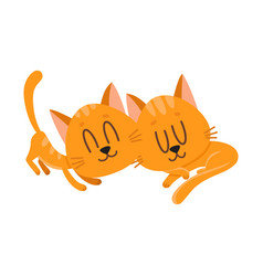 two cute and funnylittle cat kitten characters vector image