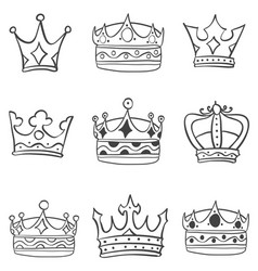 art crown various sketch vector image vector image