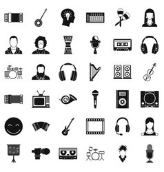 Audience icons set simple style vector