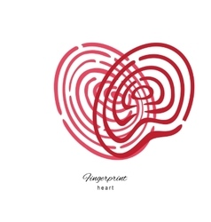 Fingerprint Red Heart Isolated On White Background vector image