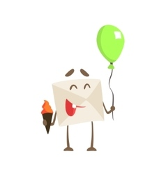 Humanized Letter Paper Envelop Holding Balloon And vector image vector image
