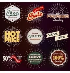 Premium discount vintage badges vector image