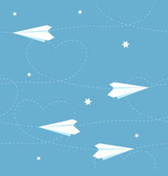 seamless paper airplane background with hearts vector image vector image