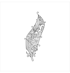 Vaned Feather Zentangle For Coloring vector image vector image