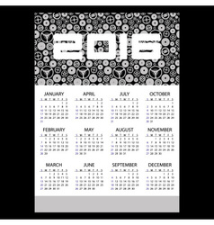 2016 time clock theme business wall calendar eps10 vector image