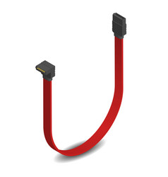3d sata connector with red cable vector image
