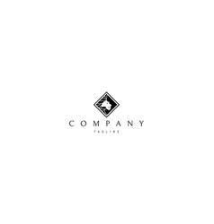 Abstract lion black rhombus logo design vector