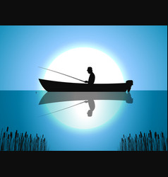 Background moon fisherman on boat fishes vector