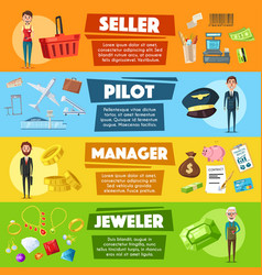 banners seller pilot manager or jeweler vector image