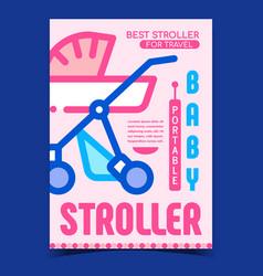 Baportable stroller advertising banner vector