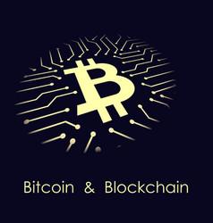 Bitcoin blockchain banner vector