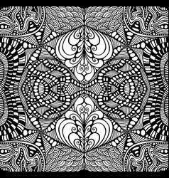 black and white psychedelic ornament coloring page vector image