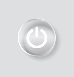 Black glossy power button transparent vector