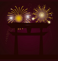 Bright fireworks cartoon vector