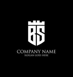 Bs initial shield logo design inspiration crown vector