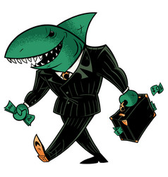 Business shark dark suit vector
