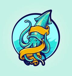 Calamari logo mascot with banner vector