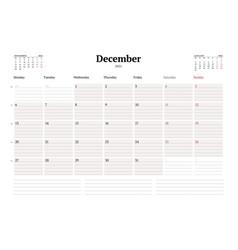 Calendar template for december 2021 business vector