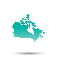 canada map colorful turquoise on white isolated vector image vector image