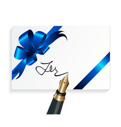 Card with blue gift bow and fountain pen vector