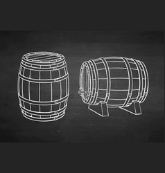 chalk sketch of barrels vector image
