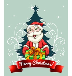 Christmas card with Santa and gift vector