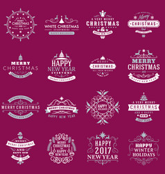 Christmas decoration elements merry christmas vector