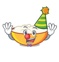 Clown cottage cheese mascot cartoon vector
