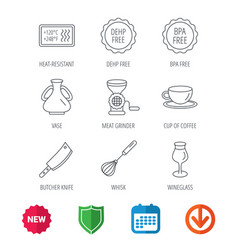coffee cup butcher knife and wineglass icons vector image