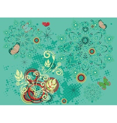 Colorful floral on green background2 vector