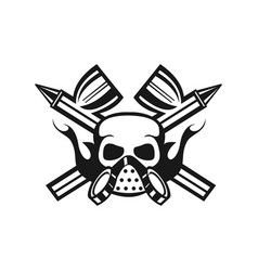 company emblem with spray guns and skull face vector image