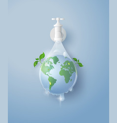 concept ecology and wolrd water day paper art vector image