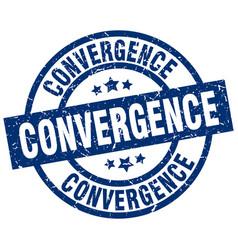 Convergence blue round grunge stamp vector