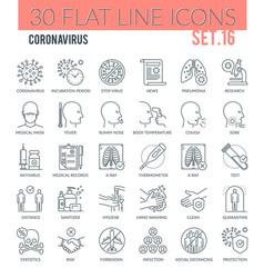 coronavirus outline icons vector image